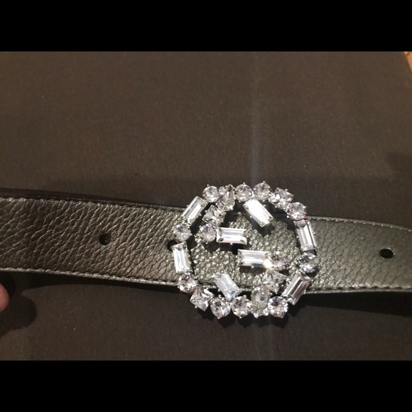 a42f7c9d7 Gucci Accessories | 354381 Grey Leather Belt Swarovski Buckle | Poshmark